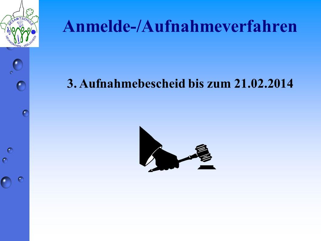 Anmelde-/Aufnahmeverfahren 3. Aufnahmebescheid bis zum 21.02.2014