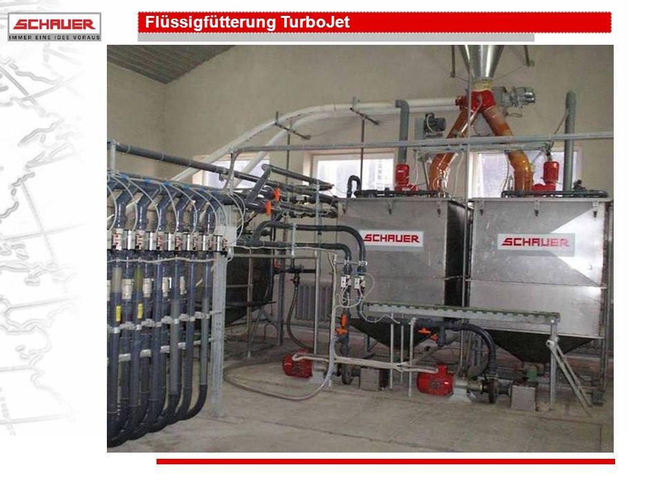 Flüssigfütterung TurboJet Rohrleitung 1 wird mit Futter gefüllt und ca.