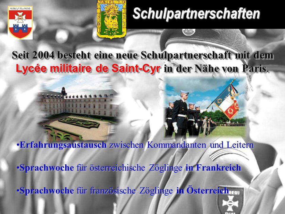 Schulpartnerschaften Seit 2004 besteht eine neue Schulpartnerschaft mit dem Lycée militaire de Saint-Cyr in der Nähe von Paris. Seit 2004 besteht eine