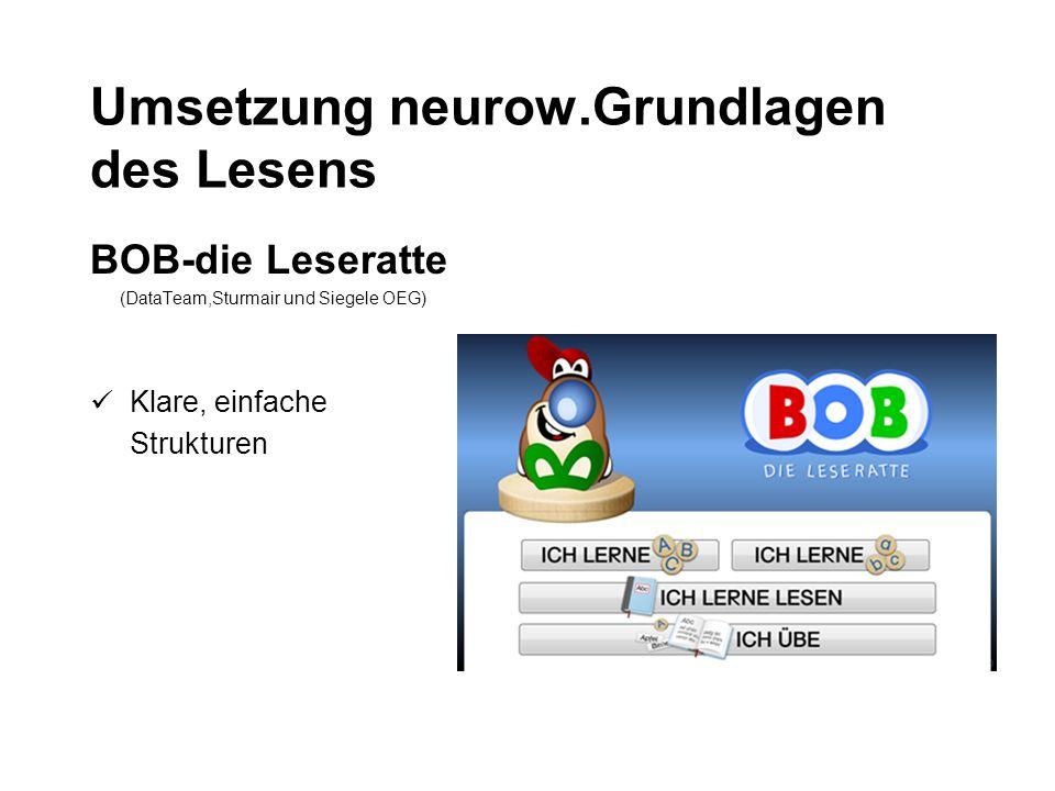 Umsetzung neurow.Grundlagen des Lesens BOB-die Leseratte (DataTeam,Sturmair und Siegele OEG) Klare, einfache Strukturen