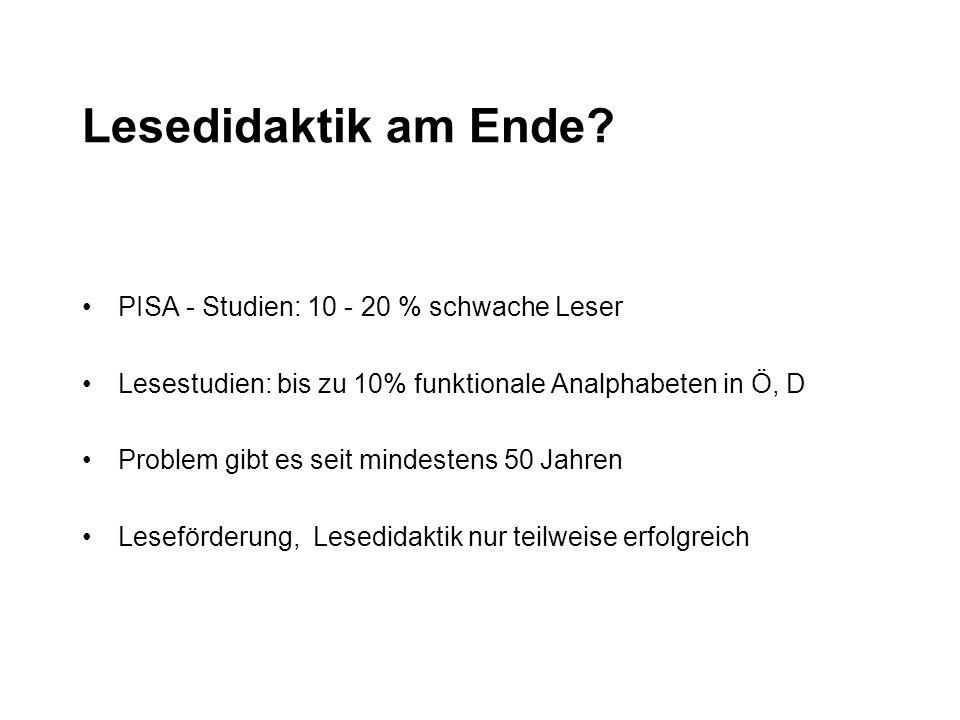 Lesedidaktik am Ende? PISA - Studien: 10 - 20 % schwache Leser Lesestudien: bis zu 10% funktionale Analphabeten in Ö, D Problem gibt es seit mindesten