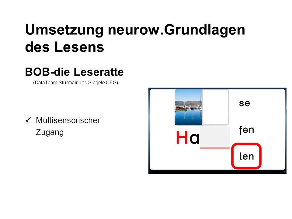 Umsetzung neurow.Grundlagen des Lesens BOB-die Leseratte (DataTeam,Sturmair und Siegele OEG) Multisensorischer Zugang
