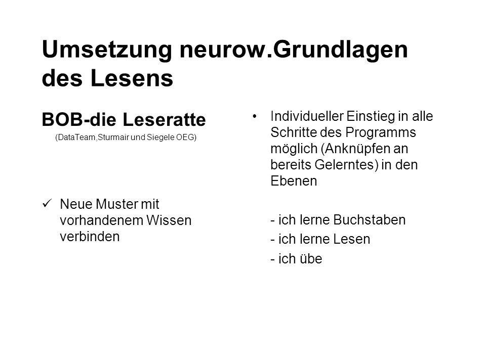 Umsetzung neurow.Grundlagen des Lesens BOB-die Leseratte (DataTeam,Sturmair und Siegele OEG) Neue Muster mit vorhandenem Wissen verbinden Individuelle