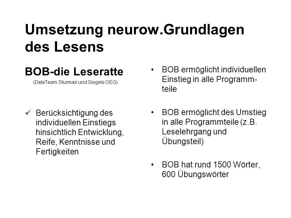 Umsetzung neurow.Grundlagen des Lesens BOB-die Leseratte (DataTeam,Sturmair und Siegele OEG) Berücksichtigung des individuellen Einstiegs hinsichtlich