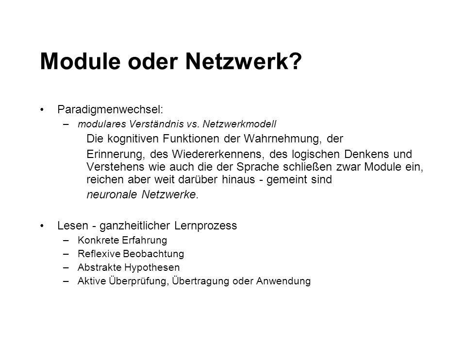 Module oder Netzwerk? Paradigmenwechsel: –modulares Verständnis vs. Netzwerkmodell Die kognitiven Funktionen der Wahrnehmung, der Erinnerung, des Wied