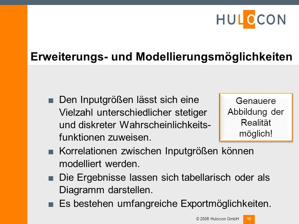Simulationsergebnisse als Ausgangspunkt für betriebliche Maßnahmen © 2008 Hulocon GmbH9 Durch verschiedene Maßnahmen (Werbung, Absicherung von Materia