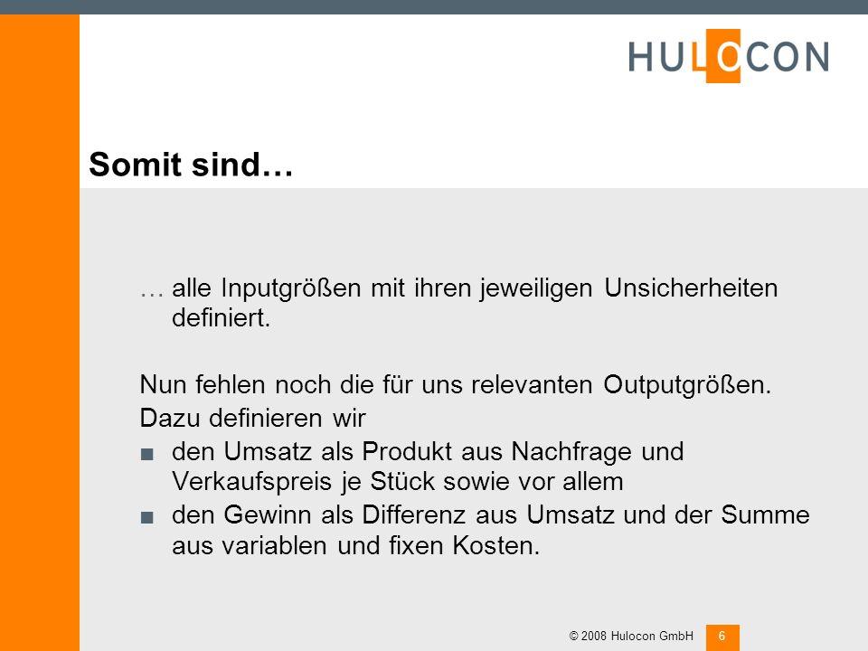 Weiterhin… …lassen sich für die Verkaufspreise Szenarien und Wahrscheinlichkeiten festlegen. © 2008 Hulocon GmbH5 Gleiches gilt für die variablen Kost