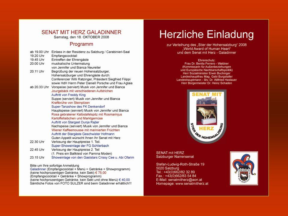 Weitere Veranstaltungen des Senates mit Herz: Herbstgala mit Verleihung des HARLEKIN, der zweithöchsten Auszeichnung des Senates mit Herz im Gemeindezentrum Gnigl mit buntem Showprogramm.