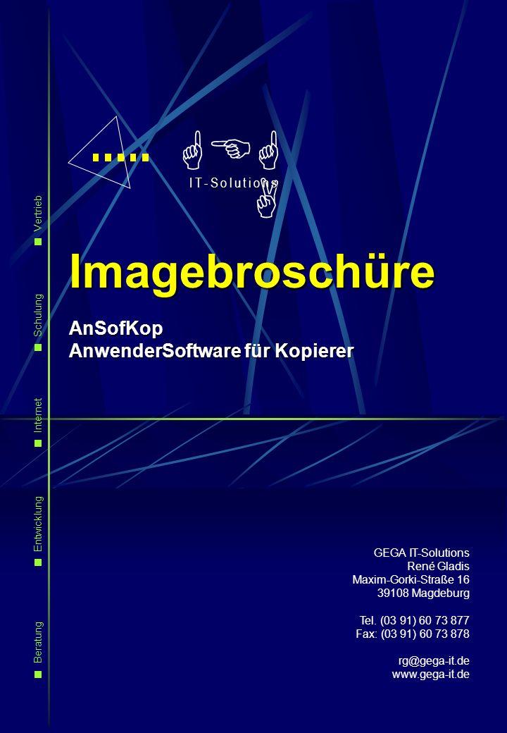 GEGA IT-Solutions René Gladis Maxim-Gorki-Straße 16 39108 Magdeburg Tel. (03 91) 60 73 877 Fax: (03 91) 60 73 878 rg@gega-it.de www.gega-it.de GEG A I