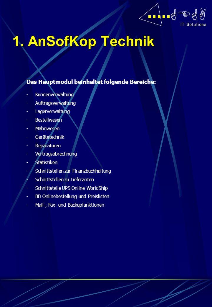 GEGA I T - S o l u t i o n s I T - S o l u t i o n s Das Hauptmodul beinhaltet folgende Bereiche: -Kundenverwaltung -Auftragsverwaltung -Lagerverwaltu