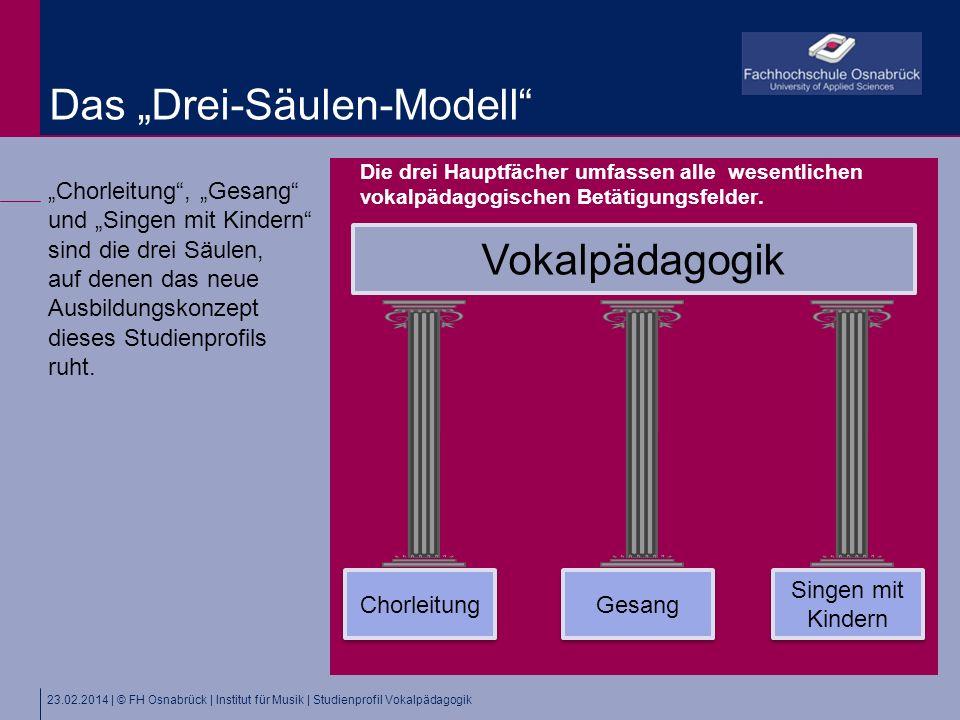 23.02.2014 | © FH Osnabrück | Institut für Musik | Studienprofil Vokalpädagogik Chorleitung, Gesang und Singen mit Kindern sind die drei Säulen, auf denen das neue Ausbildungskonzept dieses Studienprofils ruht.