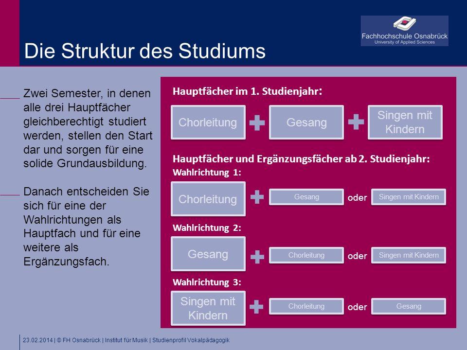 23.02.2014 | © FH Osnabrück | Institut für Musik | Studienprofil Vokalpädagogik Zwei Semester, in denen alle drei Hauptfächer gleichberechtigt studiert werden, stellen den Start dar und sorgen für eine solide Grundausbildung.