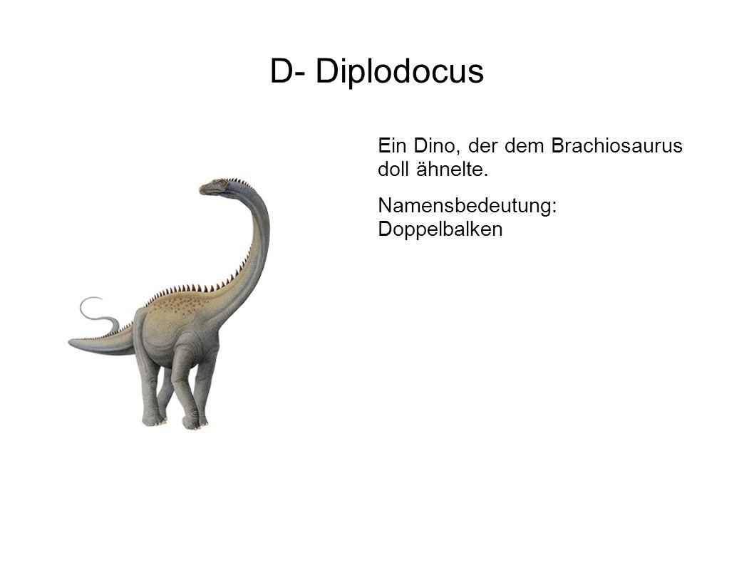 E- Eustreptospondylus Ein in Europa entdeckter 2-füßiger Fleischfresser mit primitiven Eigenschaften.