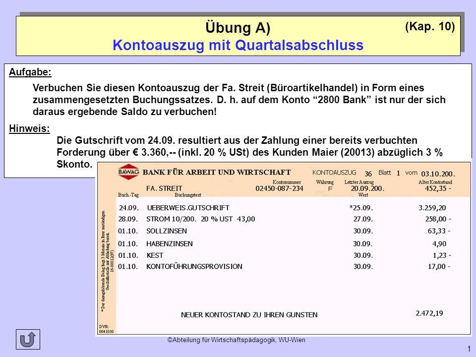 ©Abteilung für Wirtschaftspädagogik, WU-Wien 1 Übung A) Kontoauszug mit Quartalsabschluss (Kap. 10) Aufgabe: Verbuchen Sie diesen Kontoauszug der Fa.