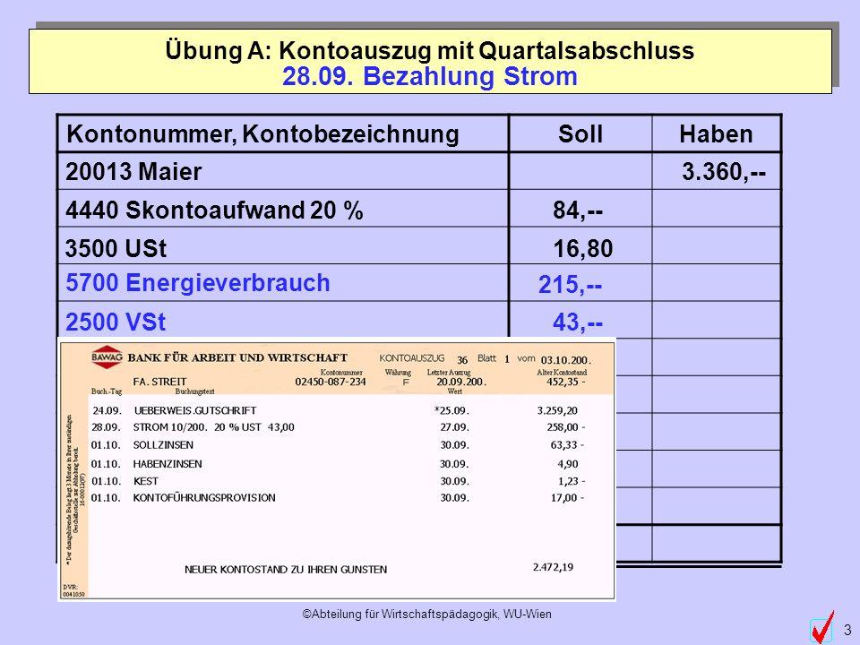 ©Abteilung für Wirtschaftspädagogik, WU-Wien 3 5700 Energieverbrauch 2500 VSt Übung A: Kontoauszug mit Quartalsabschluss 215,-- 43,-- 28.09. Bezahlung