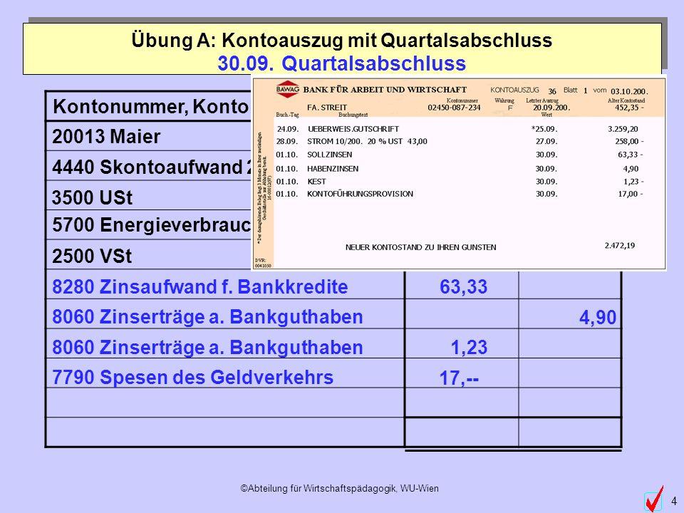 ©Abteilung für Wirtschaftspädagogik, WU-Wien 4 Kontonummer, KontobezeichnungSollHaben 8280 Zinsaufwand f. Bankkredite 8060 Zinserträge a. Bankguthaben