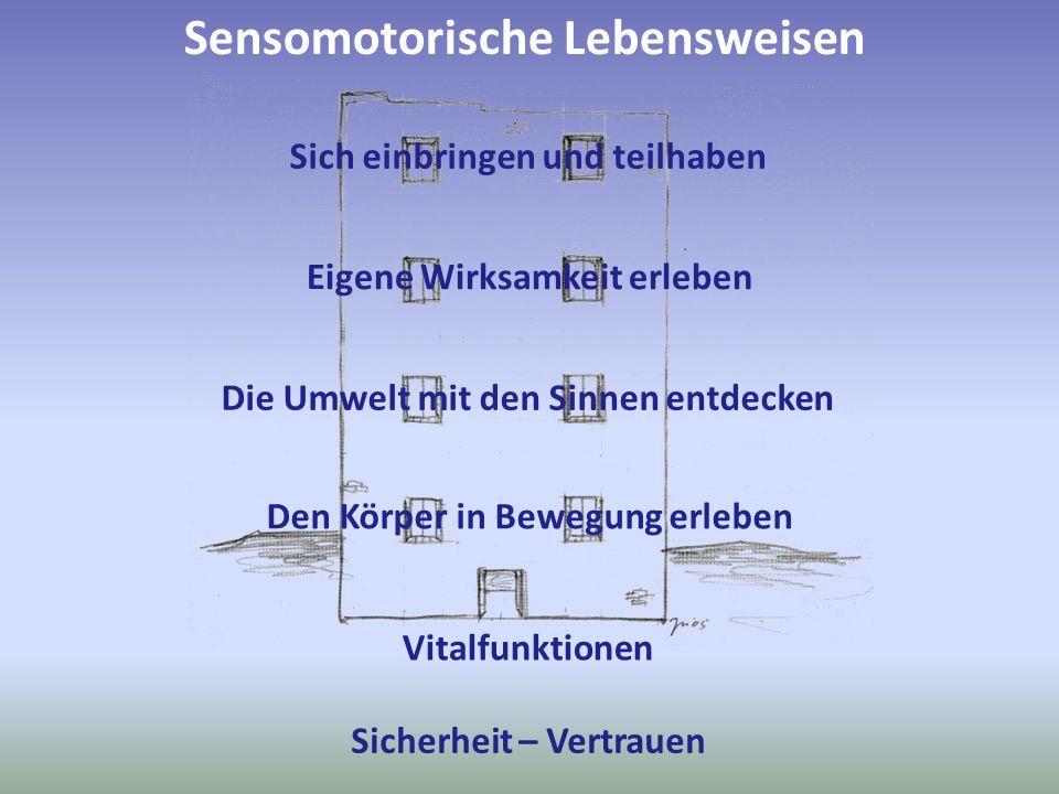 Sensomotorische Lebensweisen Sich einbringen und teilhaben Eigene Wirksamkeit erleben Die Umwelt mit den Sinnen entdecken Sicherheit – Vertrauen Vital