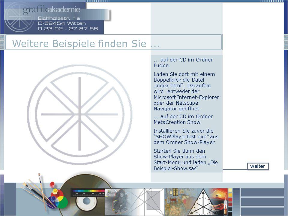 ... auf der CD im Ordner Fusion. Laden Sie dort mit einem Doppelklick die Datei index.html.