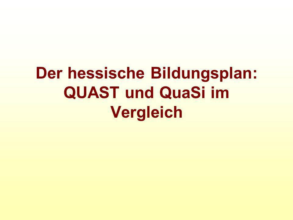 Der hessische Bildungsplan: QUAST und QuaSi im Vergleich