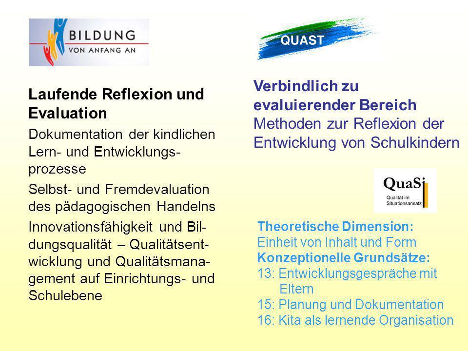 Verbindlich zu evaluierender Bereich Methoden zur Reflexion der Entwicklung von Schulkindern Laufende Reflexion und Evaluation Dokumentation der kindl