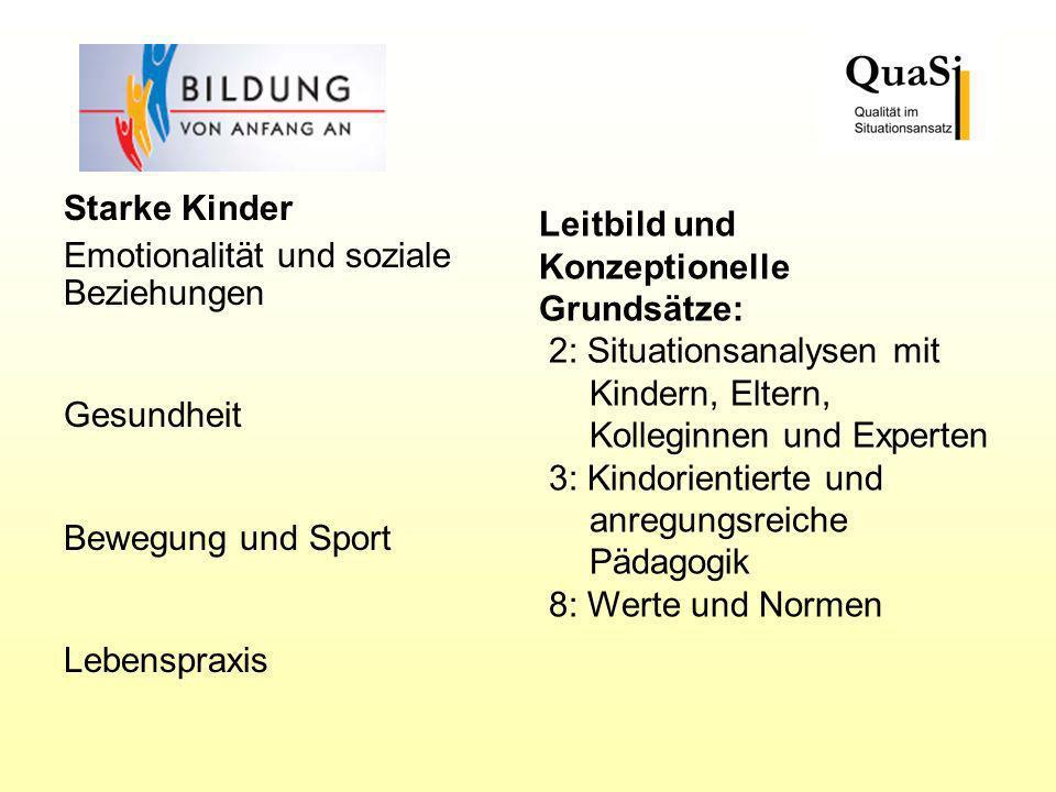 Starke Kinder Emotionalität und soziale Beziehungen Gesundheit Bewegung und Sport Lebenspraxis Leitbild und Konzeptionelle Grundsätze: 2: Situationsan