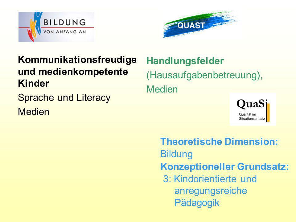Handlungsfelder (Hausaufgabenbetreuung), Medien Kommunikationsfreudige und medienkompetente Kinder Sprache und Literacy Medien Theoretische Dimension: