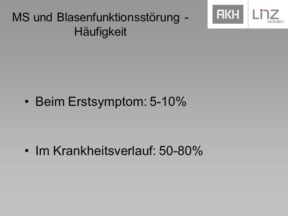MS und Blasenfunktionsstörung - Häufigkeit Beim Erstsymptom: 5-10% Im Krankheitsverlauf: 50-80%