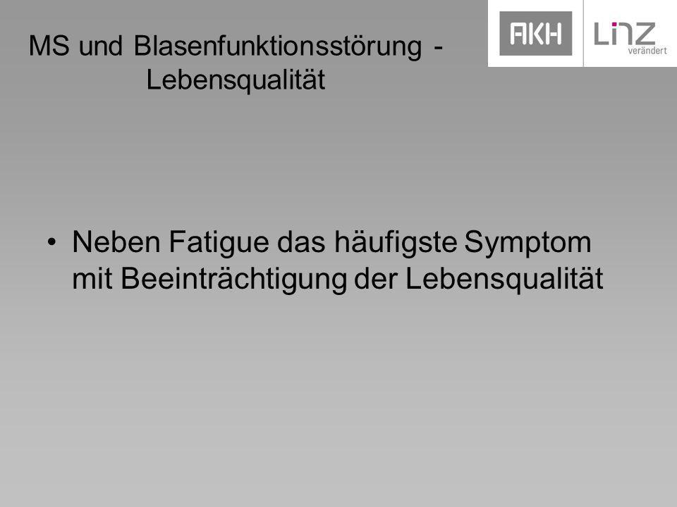MS und Blasenfunktionsstörung - Lebensqualität Neben Fatigue das häufigste Symptom mit Beeinträchtigung der Lebensqualität