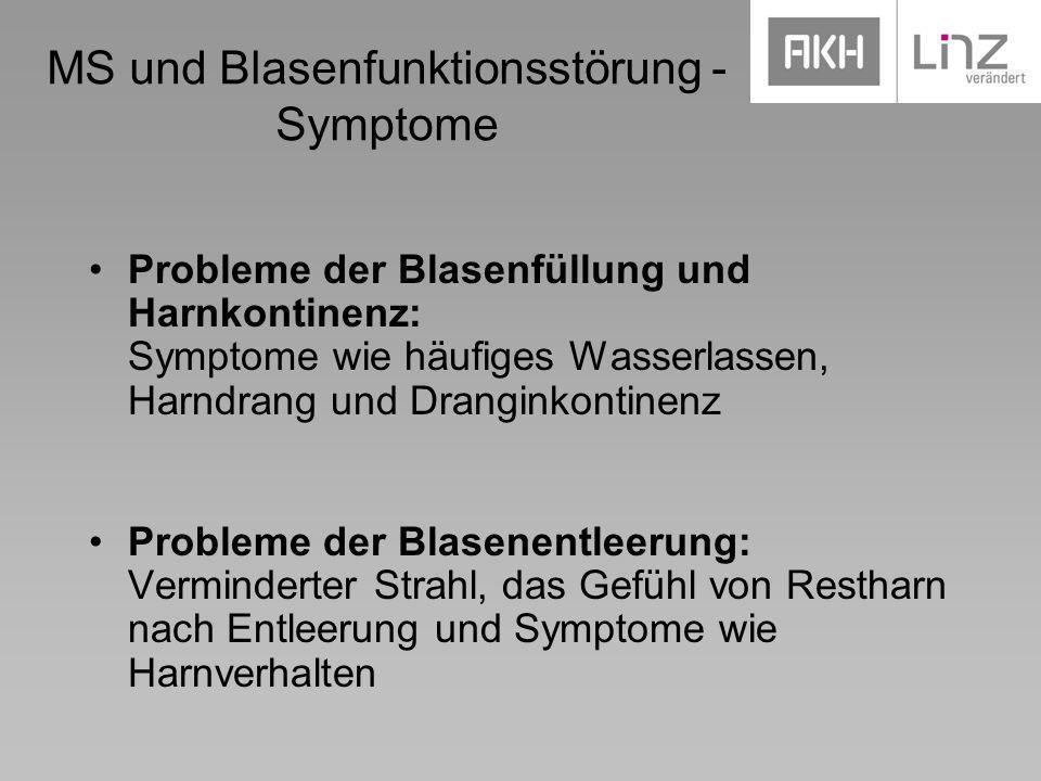 MS und Blasenfunktionsstörung - Symptome Probleme der Blasenfüllung und Harnkontinenz: Symptome wie häufiges Wasserlassen, Harndrang und Dranginkontin