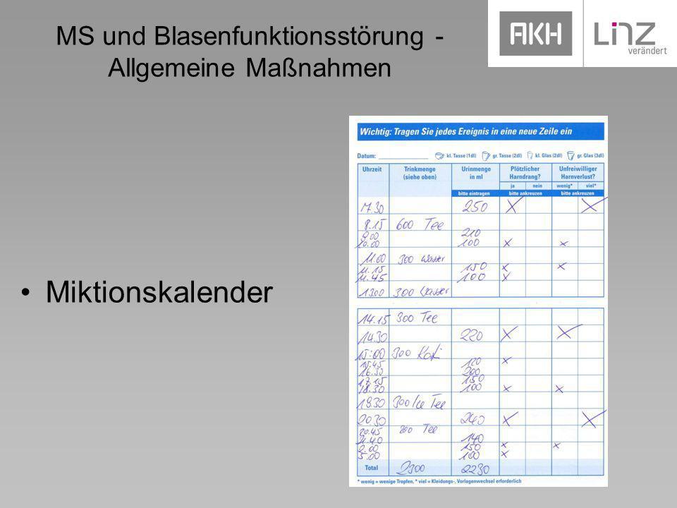 MS und Blasenfunktionsstörung - Allgemeine Maßnahmen Miktionskalender