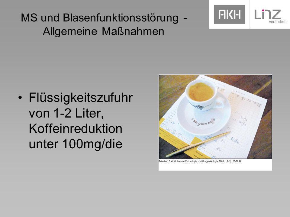 MS und Blasenfunktionsstörung - Allgemeine Maßnahmen Flüssigkeitszufuhr von 1-2 Liter, Koffeinreduktion unter 100mg/die