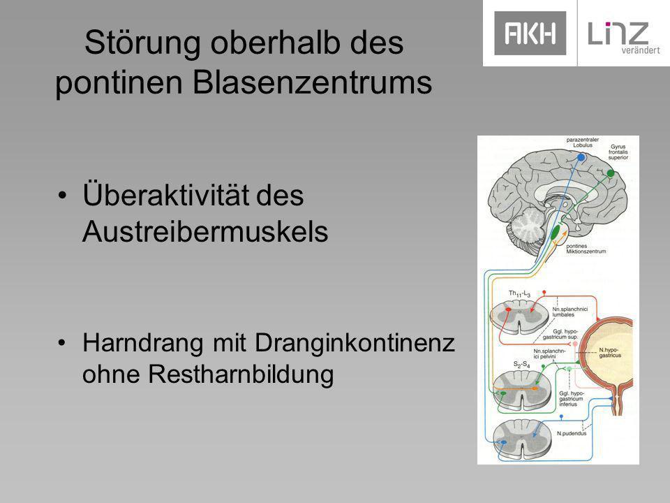 Störung oberhalb des pontinen Blasenzentrums Überaktivität des Austreibermuskels Harndrang mit Dranginkontinenz ohne Restharnbildung