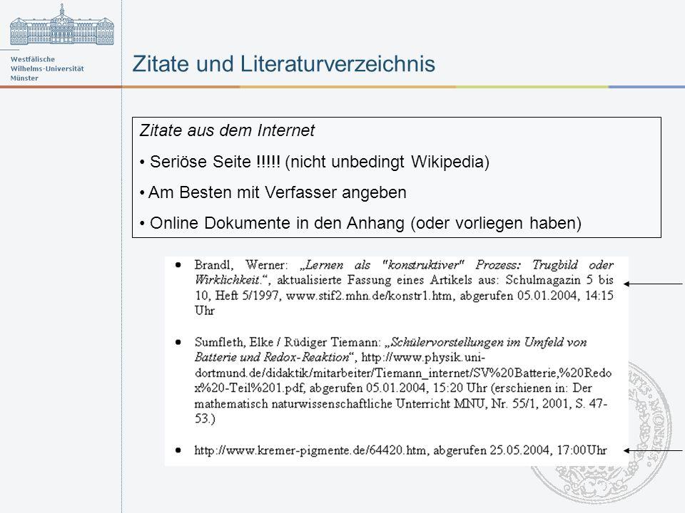 Zitate und Literaturverzeichnis Zitate aus dem Internet Seriöse Seite !!!!.