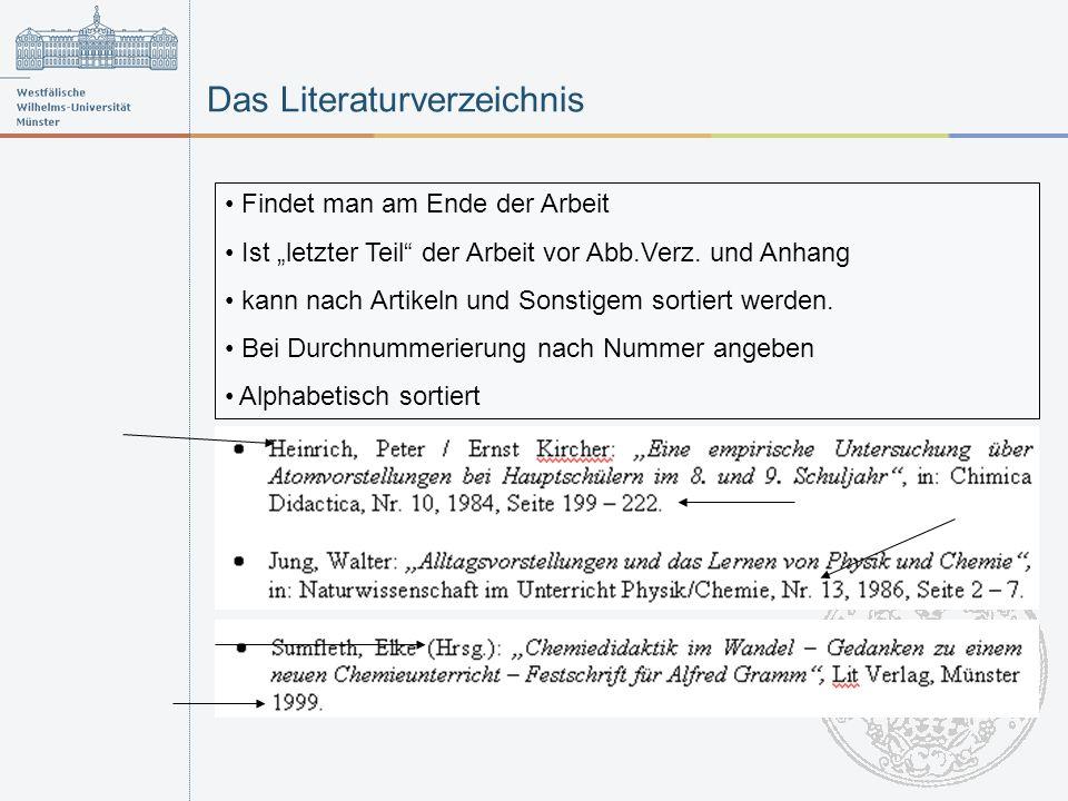 Das Literaturverzeichnis Findet man am Ende der Arbeit Ist letzter Teil der Arbeit vor Abb.Verz.