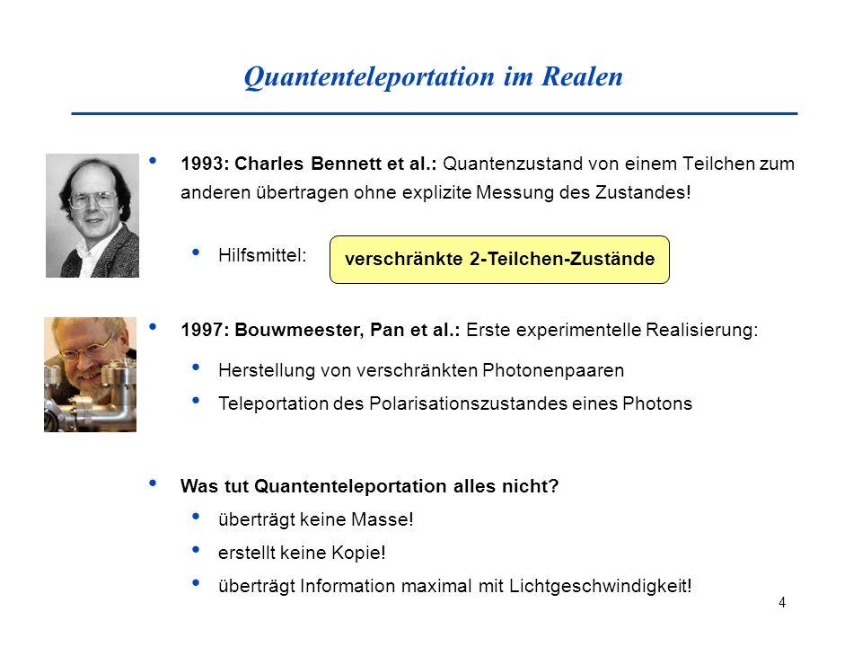 15 Experimentelle Teleportation Verwendetes 2-Niveau-System: Polarisationszustände des Photons horizontale Polarisation und vertikale Polarisation