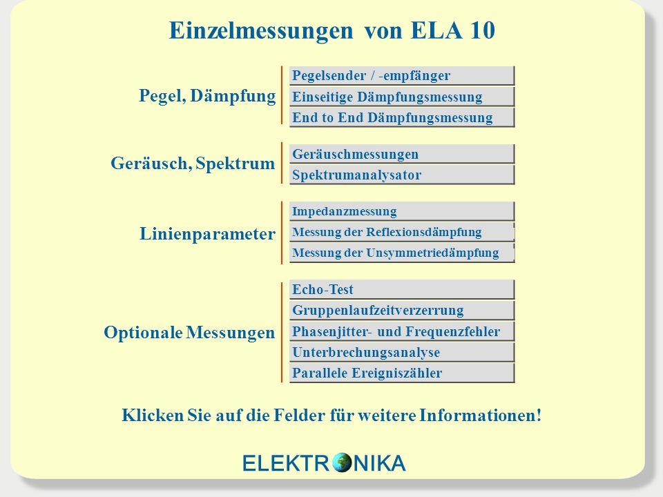 Einzelmessungen von ELA 10 Pegel, Dämpfung Geräusch, Spektrum Linienparameter Optionale Messungen Pegelsender / -empfänger Einseitige Dämpfungsmessung End to End Dämpfungsmessung Geräuschmessungen Spektrumanalysator Messung der Unsymmetriedämpfung Impedanzmessung Messung der Reflexionsdämpfung Echo-Test Gruppenlaufzeitverzerrung Phasenjitter- und Frequenzfehler Unterbrechungsanalyse Parallele Ereigniszähler ELEKTR NIKA Klicken Sie auf die Felder für weitere Informationen!