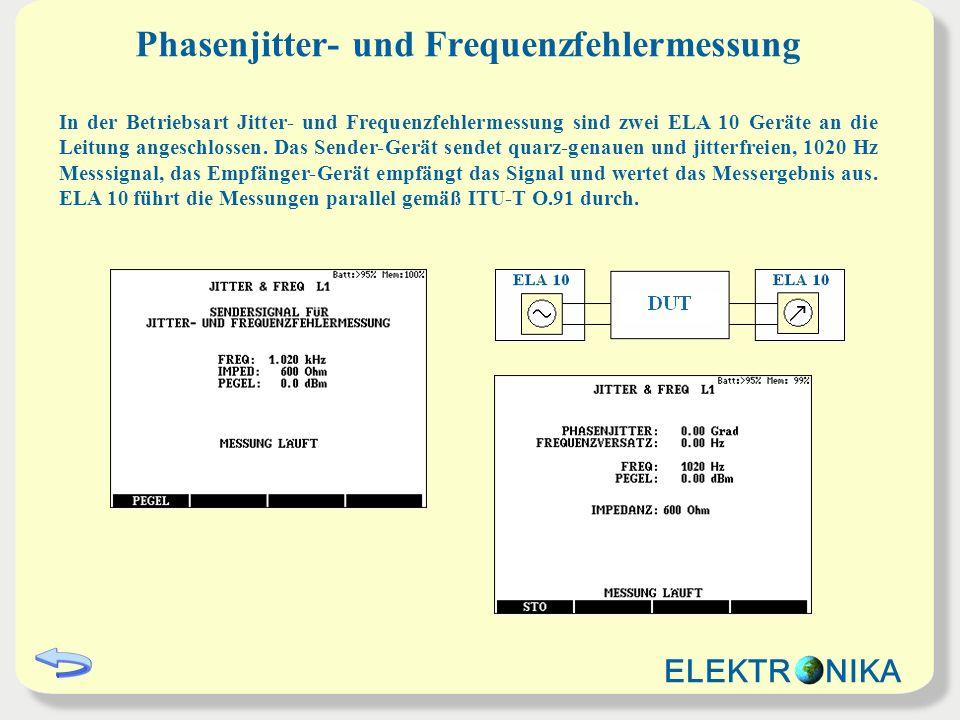 Phasenjitter- und Frequenzfehlermessung In der Betriebsart Jitter- und Frequenzfehlermessung sind zwei ELA 10 Geräte an die Leitung angeschlossen.