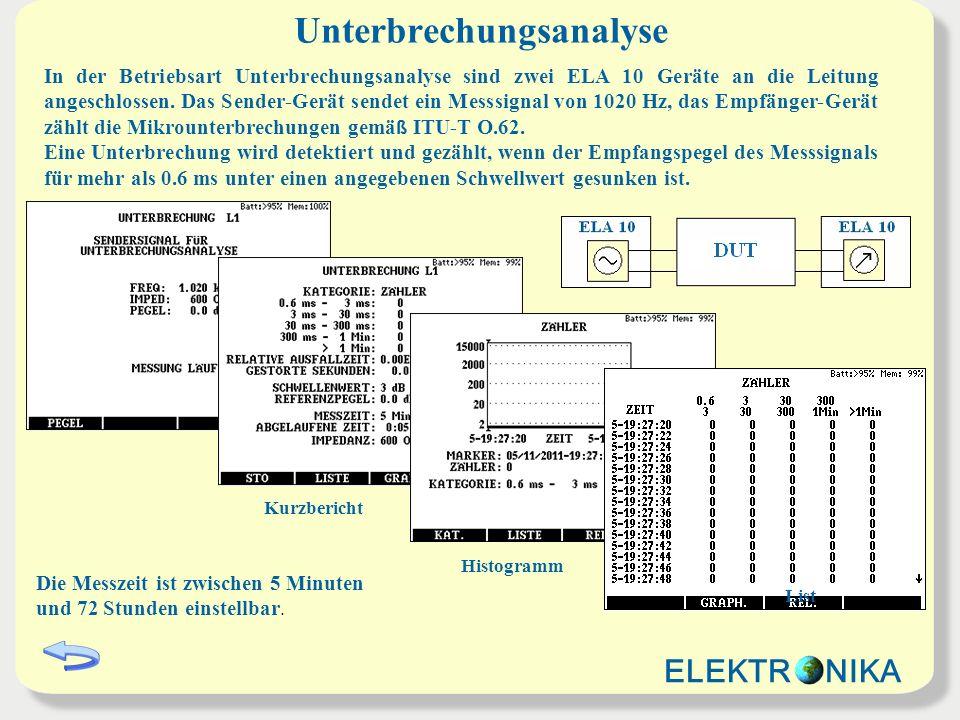 Unterbrechungsanalyse In der Betriebsart Unterbrechungsanalyse sind zwei ELA 10 Geräte an die Leitung angeschlossen.