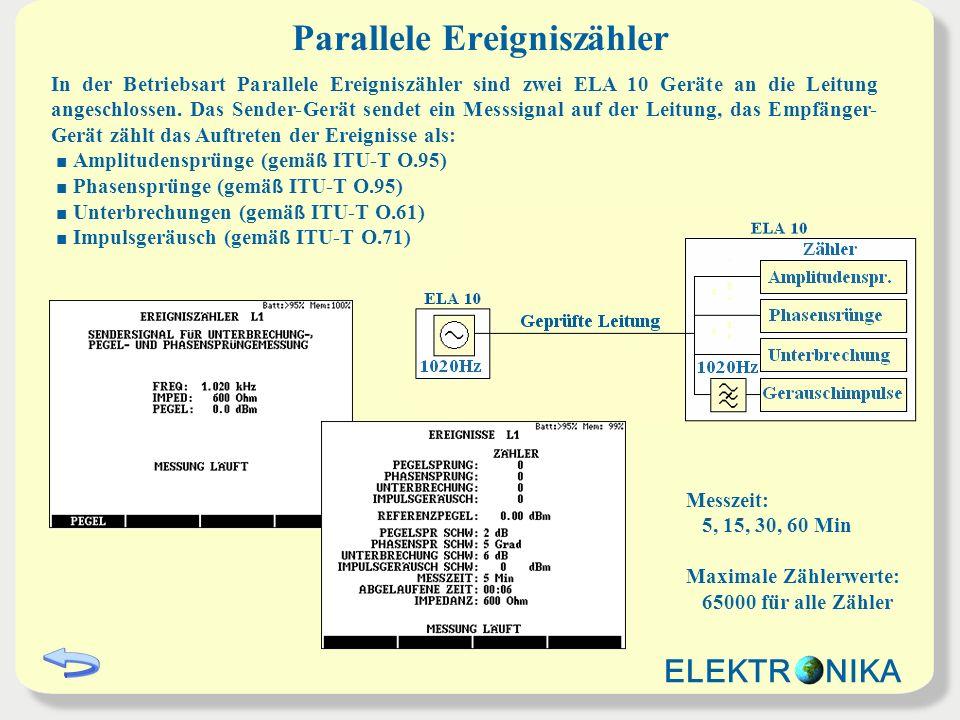 Parallele Ereigniszähler In der Betriebsart Parallele Ereigniszähler sind zwei ELA 10 Geräte an die Leitung angeschlossen.