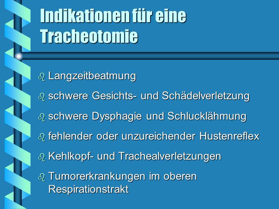 Indikationen für eine Tracheotomie b Langzeitbeatmung b schwere Gesichts- und Schädelverletzung b schwere Dysphagie und Schlucklähmung b fehlender ode