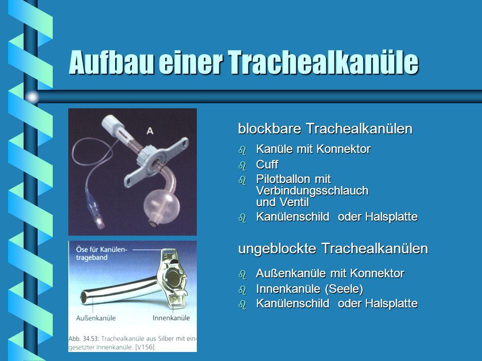 blockbare Trachealkanülen b Kanüle mit Konnektor b Cuff b Pilotballon mit Verbindungsschlauch und Ventil b Kanülenschild oder Halsplatte ungeblockte T