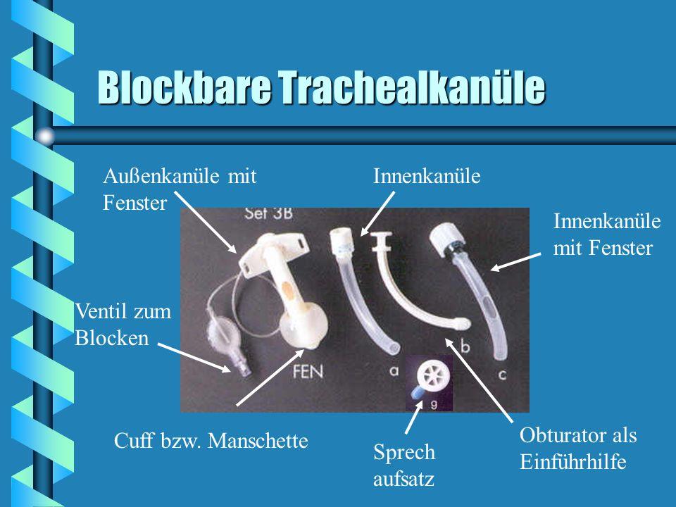 Blockbare Trachealkanüle Außenkanüle mit Fenster Innenkanüle Innenkanüle mit Fenster Obturator als Einführhilfe Cuff bzw. Manschette Ventil zum Blocke