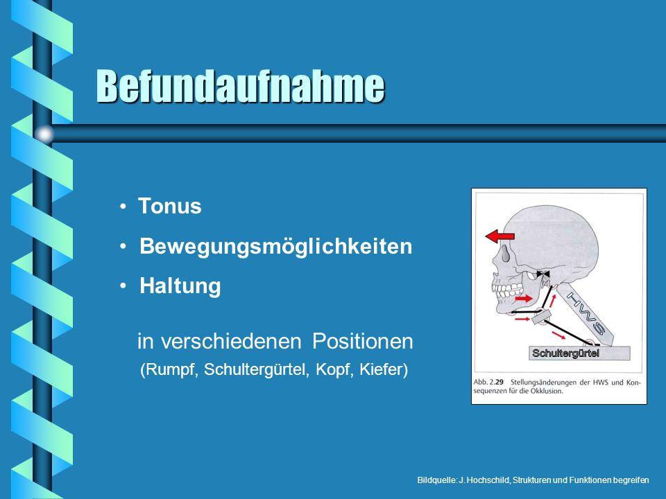 Befundaufnahme Tonus Bewegungsmöglichkeiten Haltung in verschiedenen Positionen (Rumpf, Schultergürtel, Kopf, Kiefer) Bildquelle: J. Hochschild, Struk