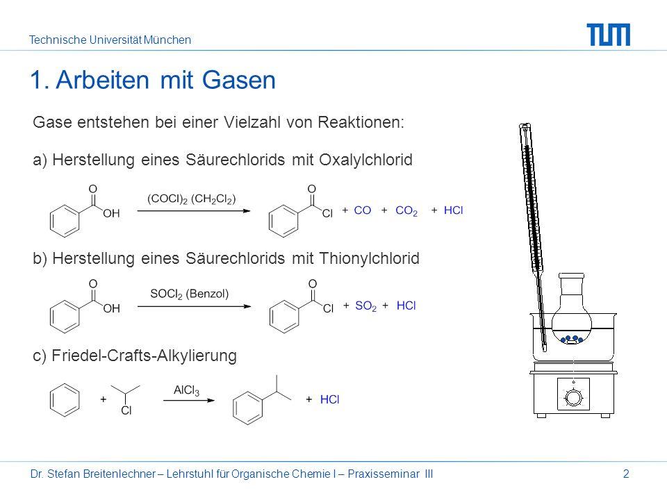 Technische Universität München Dr. Stefan Breitenlechner – Lehrstuhl für Organische Chemie I – Praxisseminar III2 1. Arbeiten mit Gasen Gase entstehen
