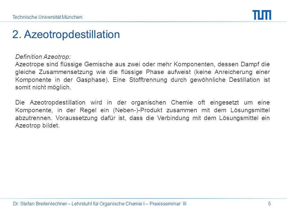 Technische Universität München Dr. Stefan Breitenlechner – Lehrstuhl für Organische Chemie I – Praxisseminar III5 Definition Azeotrop: Azeotrope sind