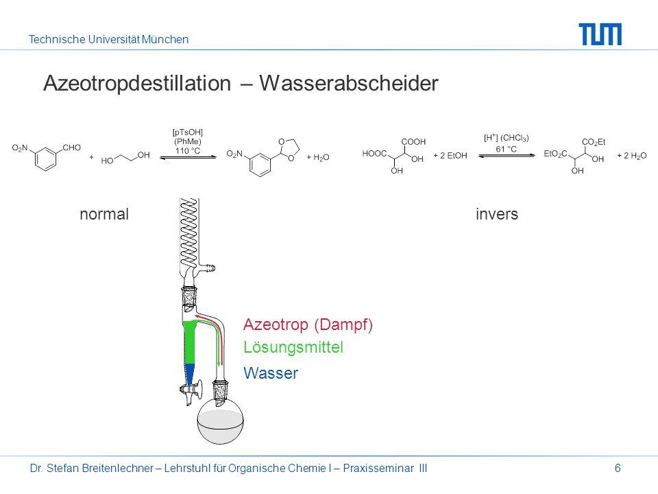 Technische Universität München Dr. Stefan Breitenlechner – Lehrstuhl für Organische Chemie I – Praxisseminar III6 Azeotropdestillation – Wasserabschei