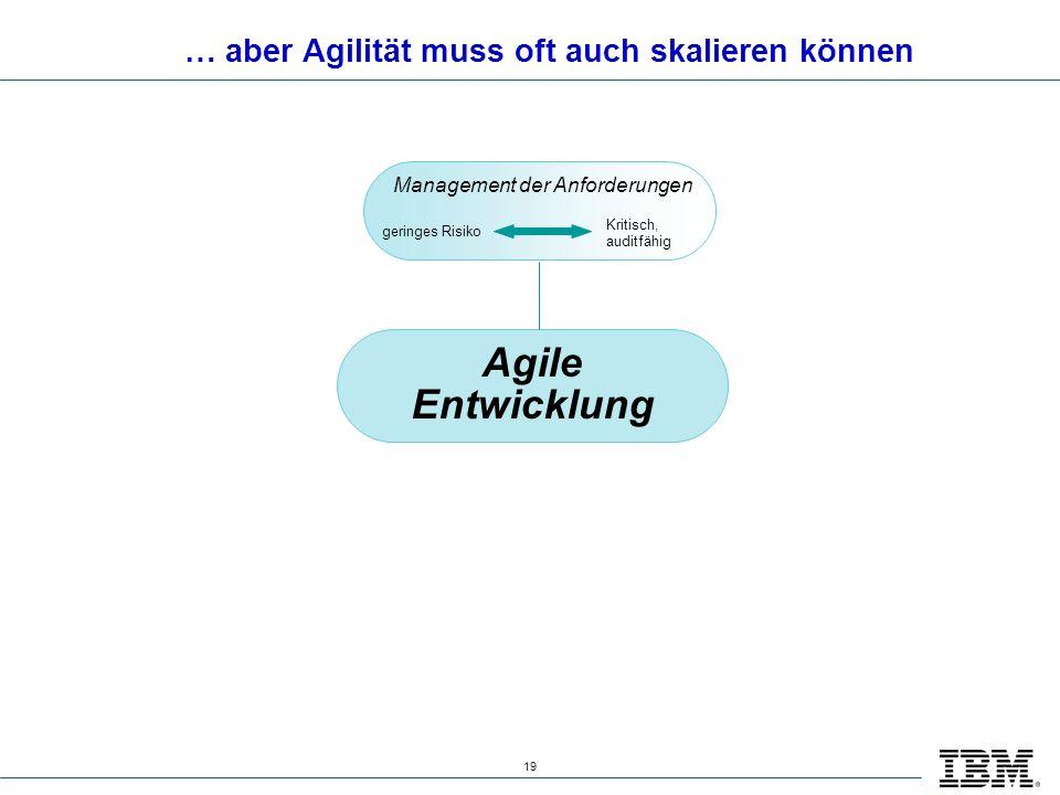 19 … aber Agilität muss oft auch skalieren können Agile Entwicklung Management der Anforderungen geringes Risiko Kritisch, auditfähig