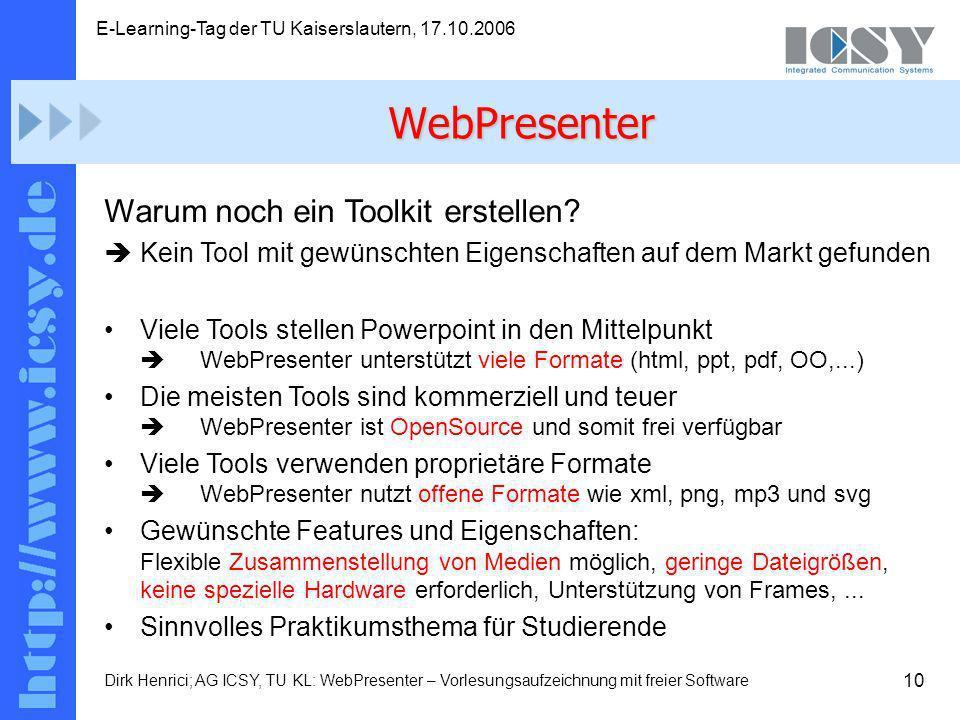 10 E-Learning-Tag der TU Kaiserslautern, 17.10.2006 Dirk Henrici; AG ICSY, TU KL: WebPresenter – Vorlesungsaufzeichnung mit freier Software Warum noch ein Toolkit erstellen.