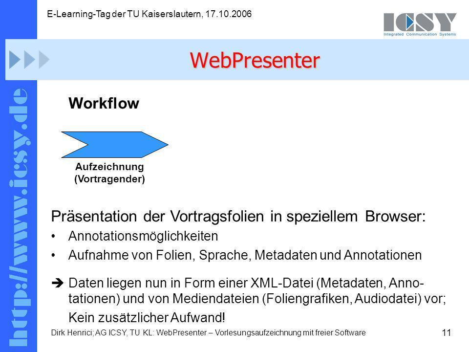 11 E-Learning-Tag der TU Kaiserslautern, 17.10.2006 Dirk Henrici; AG ICSY, TU KL: WebPresenter – Vorlesungsaufzeichnung mit freier Software Workflow Präsentation der Vortragsfolien in speziellem Browser: Annotationsmöglichkeiten Aufnahme von Folien, Sprache, Metadaten und Annotationen Daten liegen nun in Form einer XML-Datei (Metadaten, Anno- tationen) und von Mediendateien (Foliengrafiken, Audiodatei) vor; Kein zusätzlicher Aufwand.