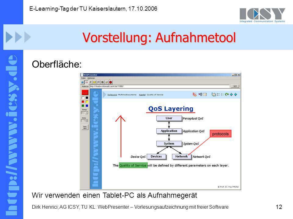 12 E-Learning-Tag der TU Kaiserslautern, 17.10.2006 Dirk Henrici; AG ICSY, TU KL: WebPresenter – Vorlesungsaufzeichnung mit freier Software Oberfläche: Wir verwenden einen Tablet-PC als Aufnahmegerät Vorstellung: Aufnahmetool